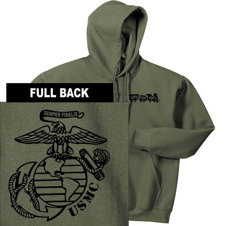 """Pick Your Design"" TFT Front & Back Hoodie TFT Sweatshirt/hoodie Marine Corps Direct BIG EGA MILITARY GREEN S"
