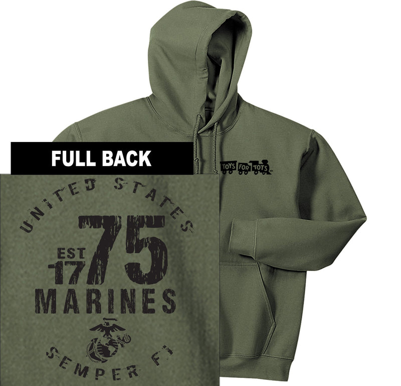 """Pick Your Design"" TFT Front & Back Hoodie TFT Sweatshirt/hoodie Marine Corps Direct MARINES EST. 1775 MILITARY GREEN S"