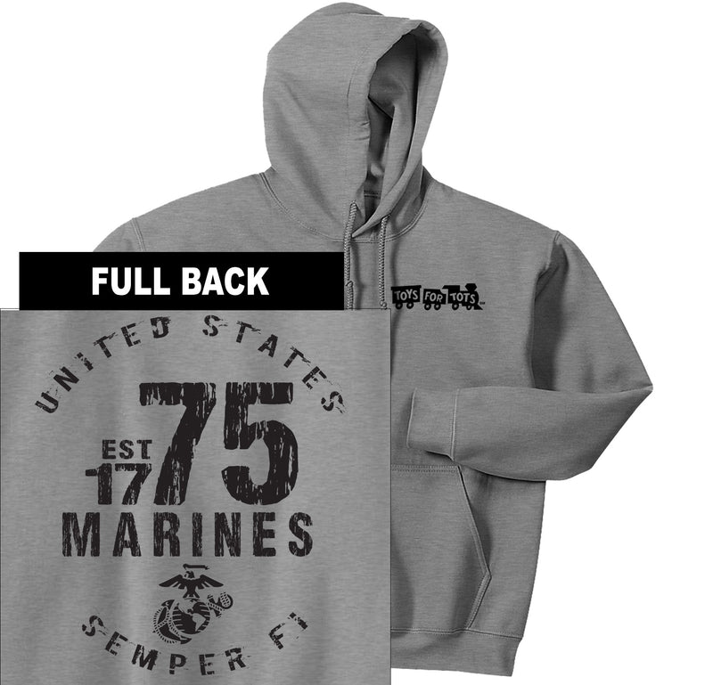 """Pick Your Design"" TFT Front & Back Hoodie TFT Sweatshirt/hoodie Marine Corps Direct MARINES EST. 1775 SPORT GRAY S"