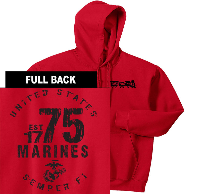 """Pick Your Design"" TFT Front & Back Hoodie TFT Sweatshirt/hoodie Marine Corps Direct MARINES EST. 1775 RED S"