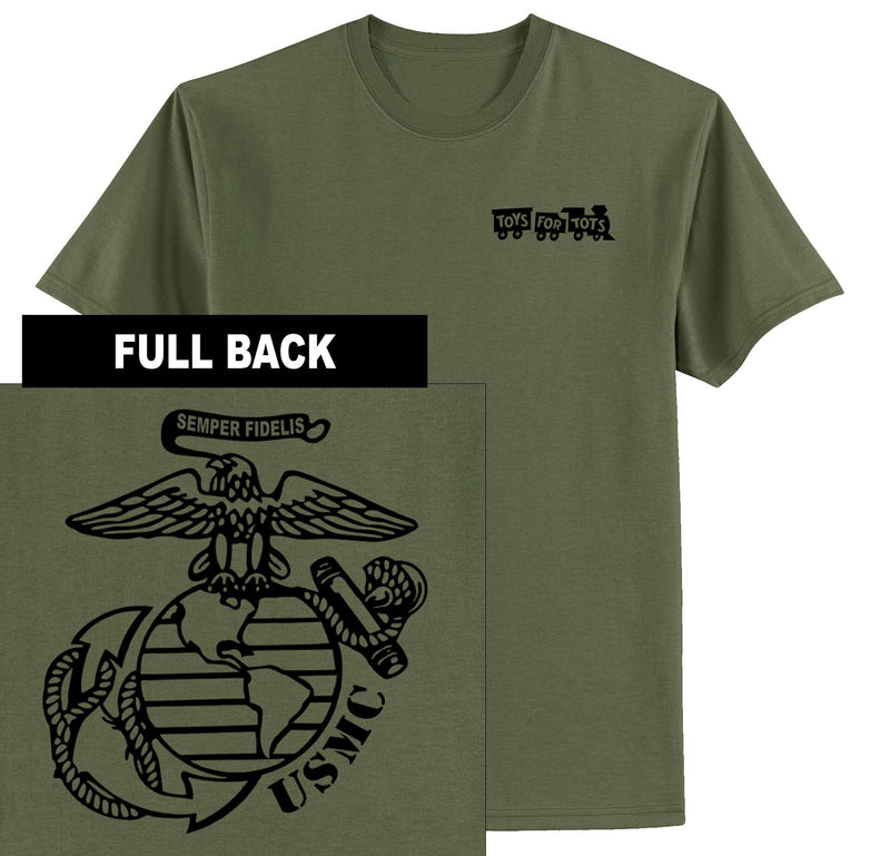 """Pick Your Design"" TFT Front & Back T-Shirt TFT Shirt Marine Corps Direct BIG EGA MILITARY GREEN S"