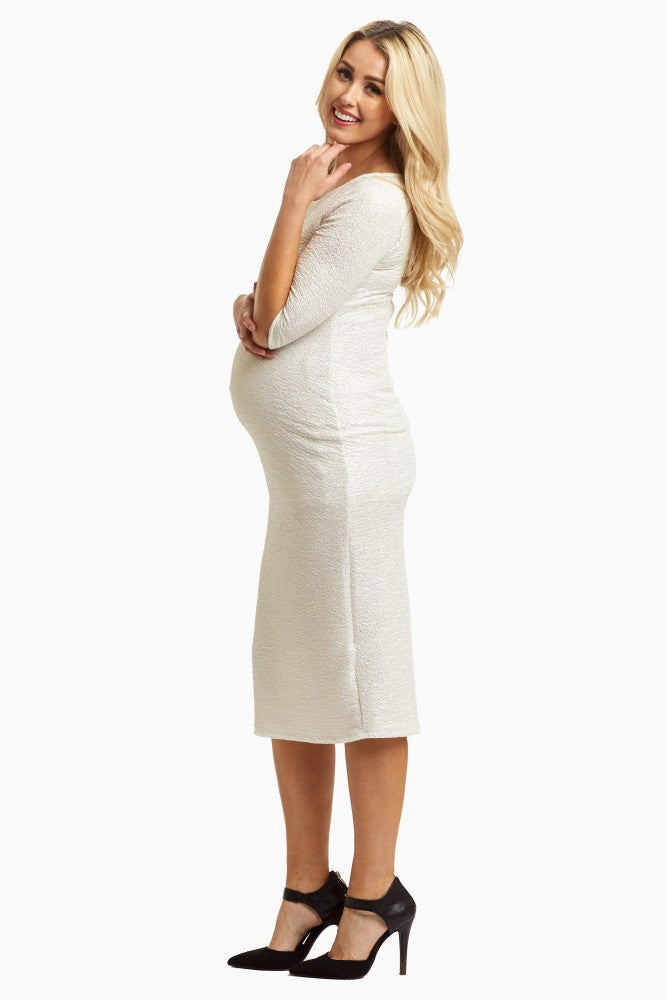 WHITE SHIMMER FITTED MATERNITY DRESS