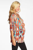 BURGUNDY MULTI-COLORED KALEIDOSCOPE PRINT FITTED MATERNITY TOP