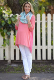 CORAL SOLID CHIFFON BACK DOLMAN SLEEVE TOP