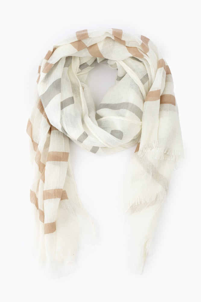 MOCHA GREY STRIPED LIGHTWEIGHT SCARF