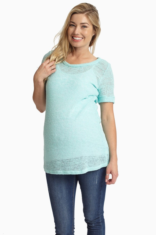MINT GREEN SHORT SLEEVE KNIT MATERNITY TOP