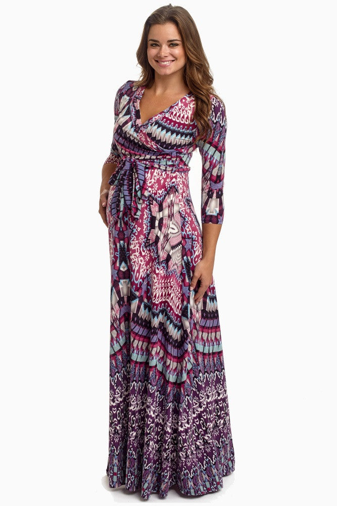 MAGENTA ABSTRACT DRAPED MATERNITY MAXI DRESS
