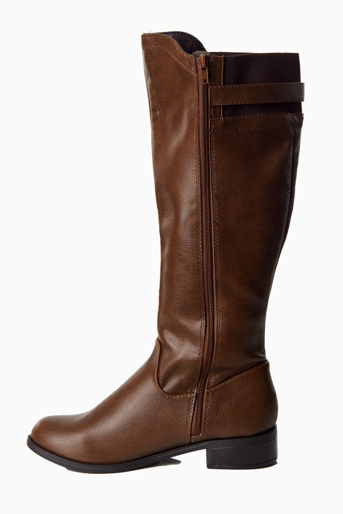 BROWN FAUX LEATHER BUCKLE BOOT