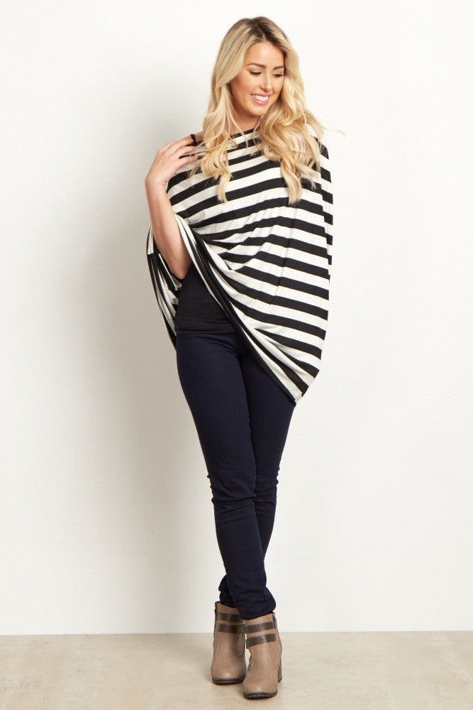 BLACK WIDE STRIPED NURSING COVER/SCARF
