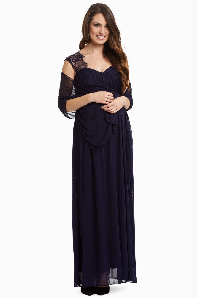 NAVY LACE ACCENT CHIFFON MATERNITY EVENING GOWN