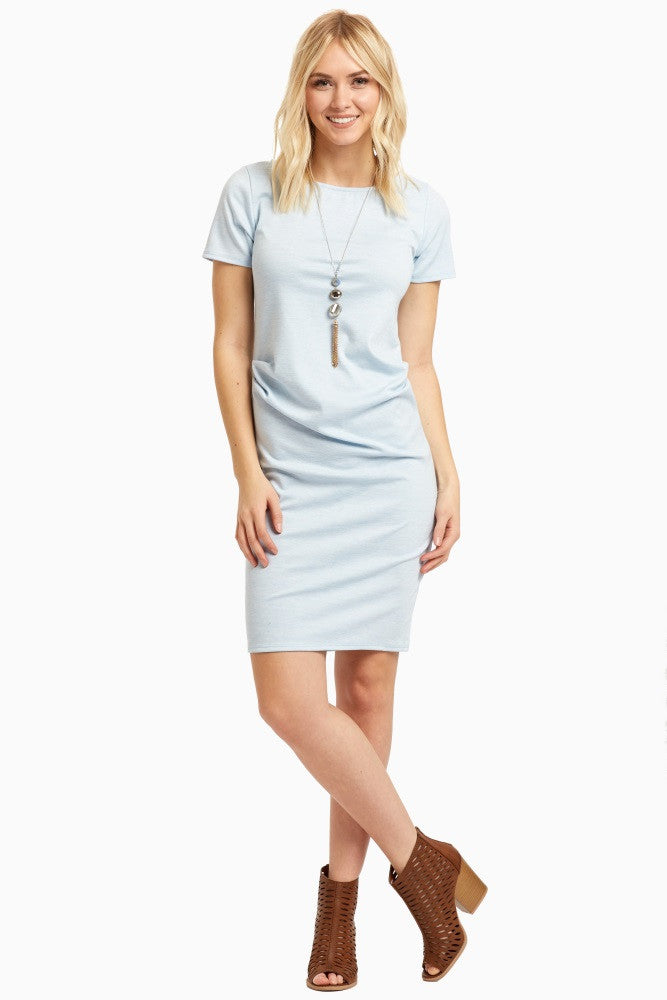 LIGHT BLUE SHORT SLEEVE FITTED MATERNITY DRESS