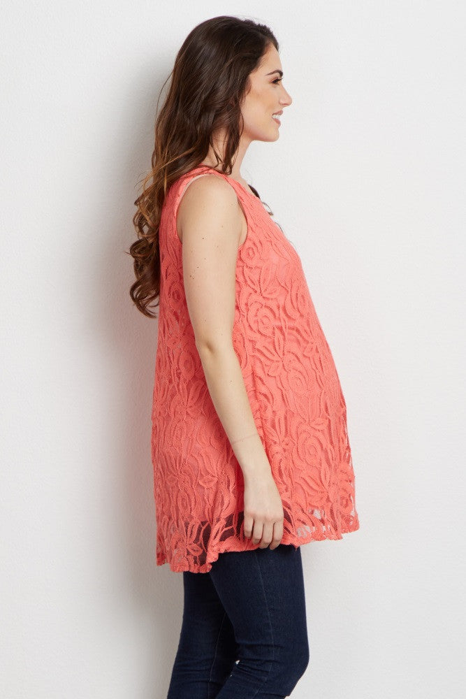 CORAL LACE MATERNITY TANK TOP