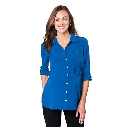 MATERNITY ROLL-TAB BLOUSE