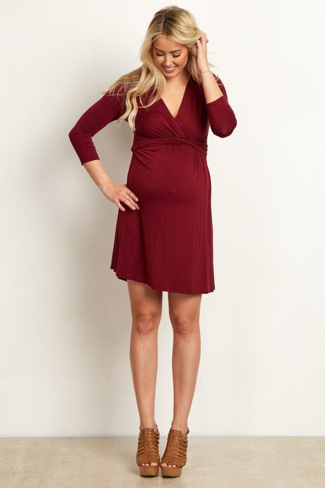 BURGUNDY WRAP V-NECK 3/4 SLEEVE MATERNITY/NURSING DRESS