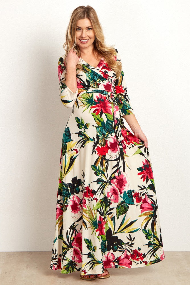 IVORY MULTI-COLOR TROPICAL MATERNITY WRAP MAXI DRESS
