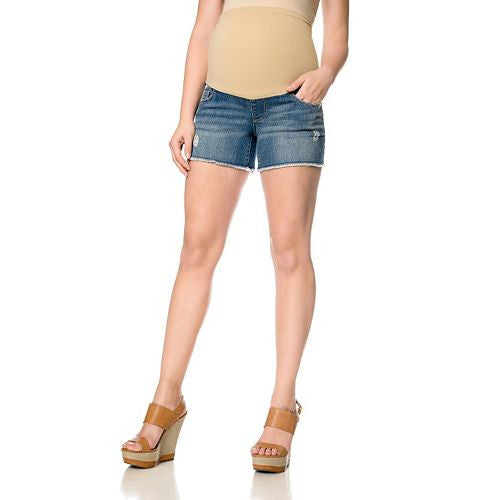 DESTRUCTED MATERNITY JEAN SHORTS