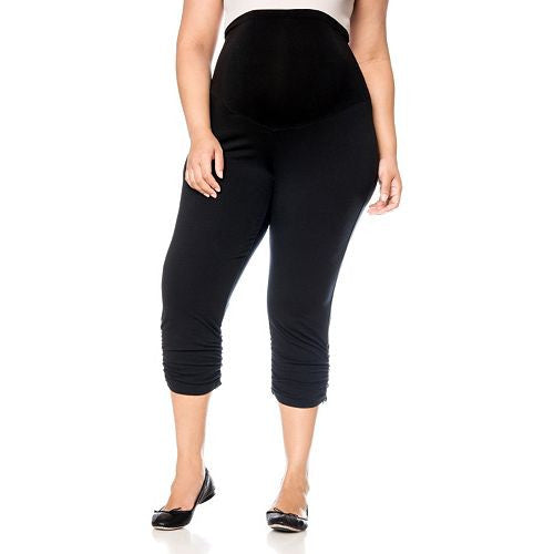 PLUS SIZE CROP MATERNITY LEGGINGS