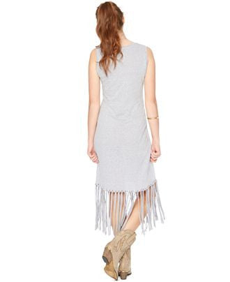 MOTHERHOOD MATERNITY FRINGED MAXI DRESS