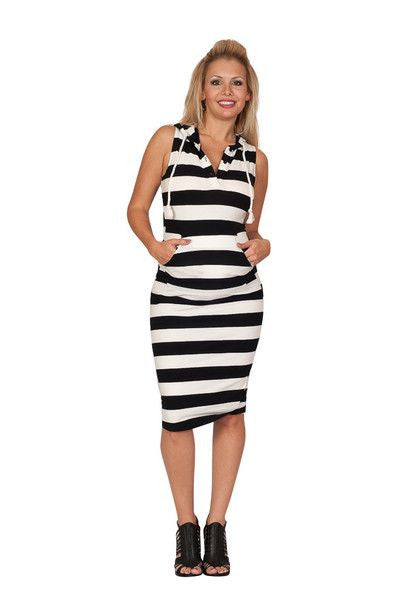 SLEEVELESS STRIPED MATERNITY DRESS