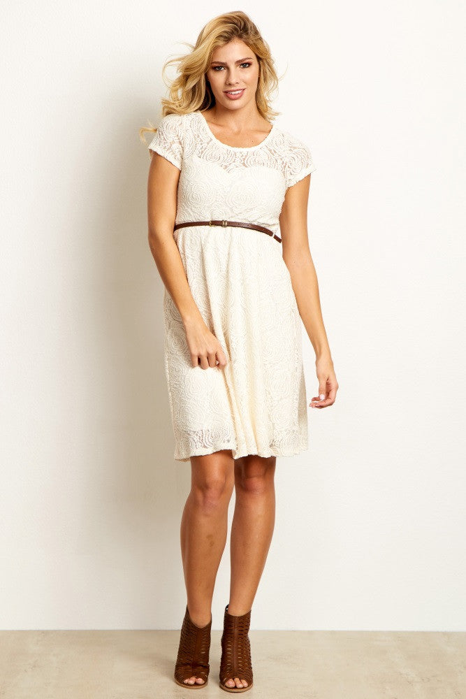 IVORY LACE BELTED MATERNITY DRESS