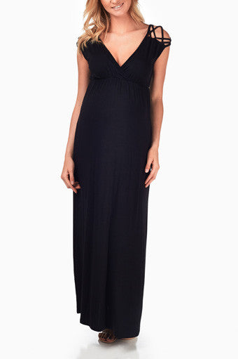 BLACK WOVEN SHOULDER MATERNITY/NURSING MAXI DRESS