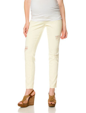 TWILL DESTRUCTED SKINNY MATERNITY PANTS