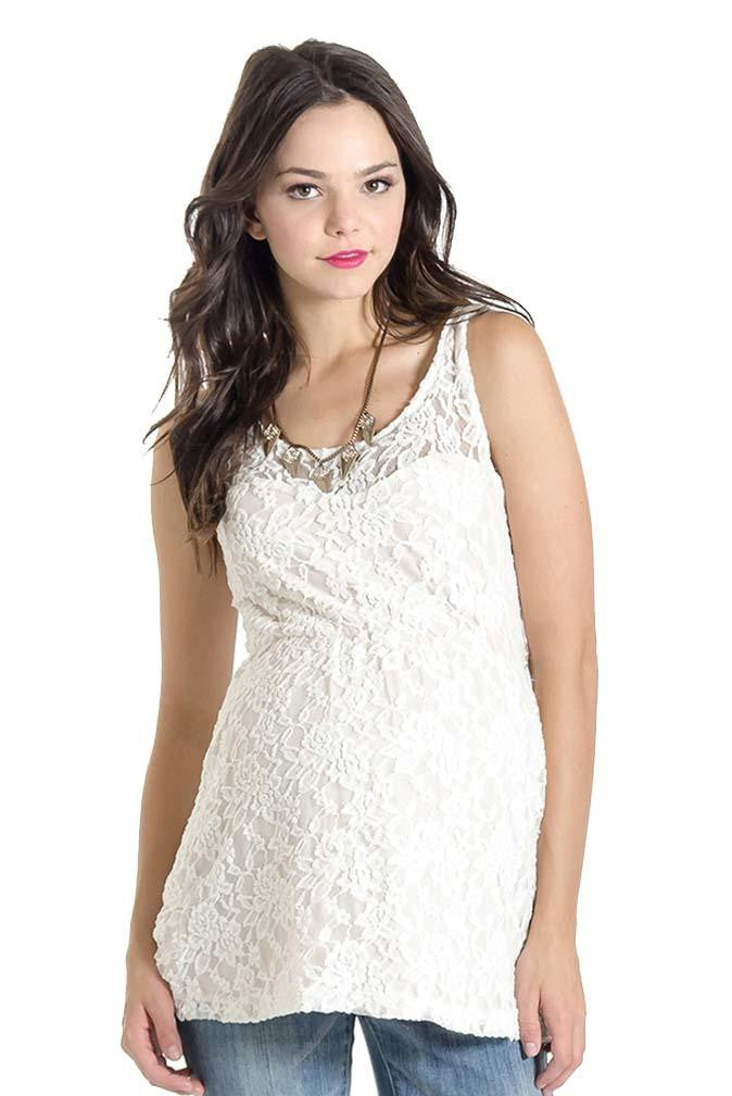 LILAC LAILA SLEEVELESS LACE MATERNITY TOP