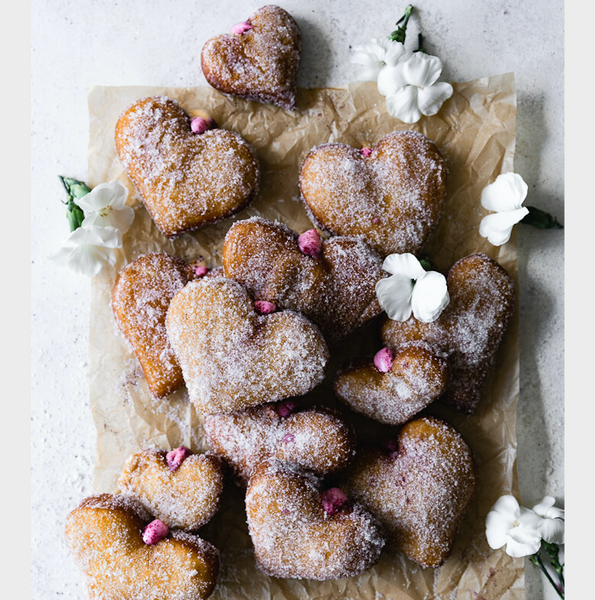 Heart Shaped Doughnuts with Hibiscus Cream