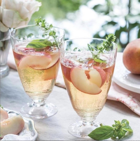 Tuscan peach and ginger iced tea with basil