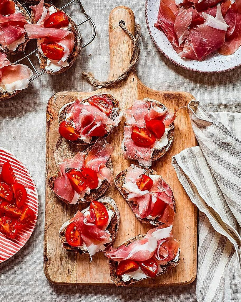 Roasted Cherry Tomato and Parma Ham Crostini