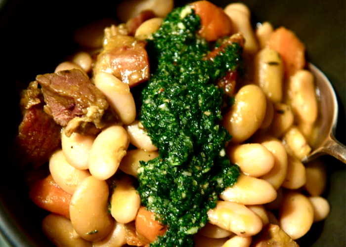 Bean and Ham Stew with Rosemary Pistou