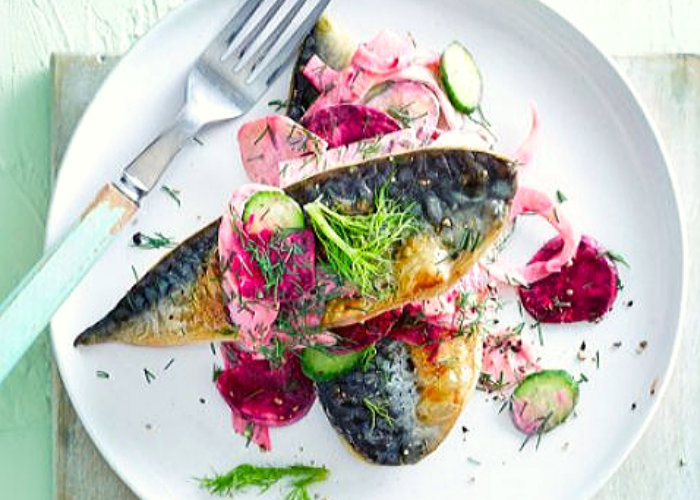 Smoked Mackerel with Beetroot and Cucumber Salad
