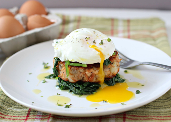Turkey Hash Cakes with Poached Eggs