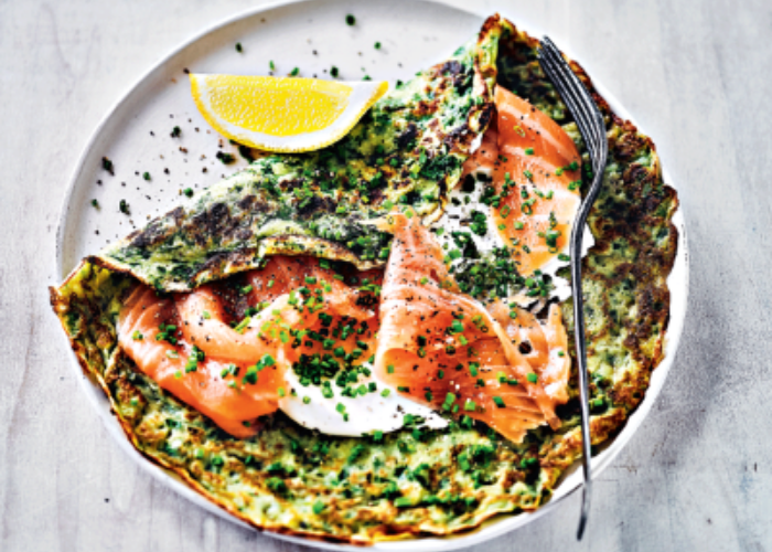Spinach and Herb Pancakes with Smoked Salmon