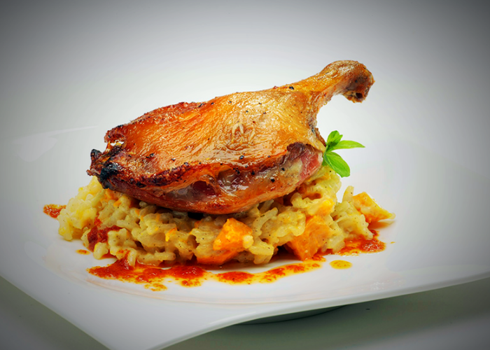 Roast Pumpkin Risotto with Confit Duck Legs