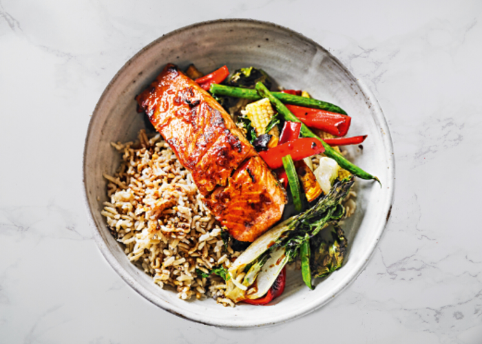 Teriyaki Trout & Rainbow Vegetable Quinoa Bowl
