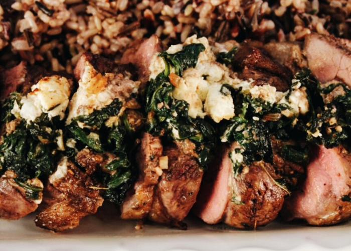 Boneless Leg of Lamb Stuffed with Goat Cheese & Spinach