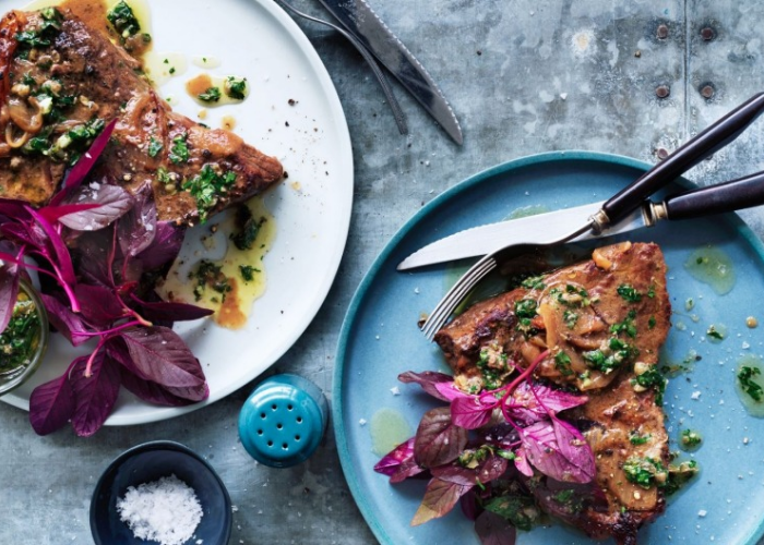 Braised Steaks with Mustard and Capers
