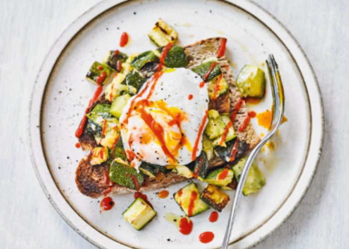Roasted Zucchinis & Poached Eggs on Toast