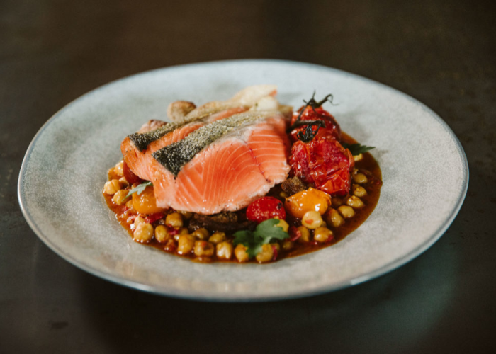 Salmon with Chickpea Stew