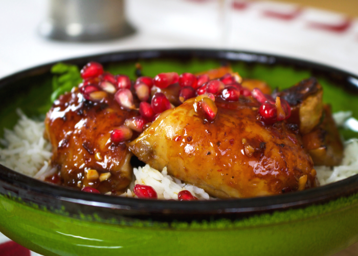 Sticky Pomegranate Chicken with Butternut Pumpkin