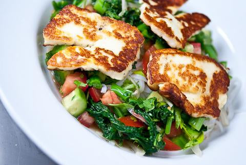 Macadamia Pesto and Haloumi Salad