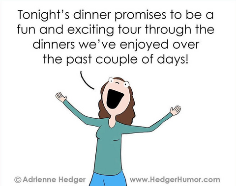 Humorous cartoon about dinner