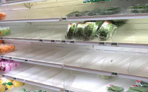 Empty shelves at supermarkets