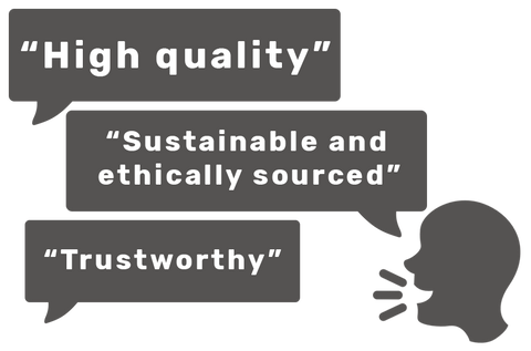 high quality, sustainable and ethically sourced, trustworthy