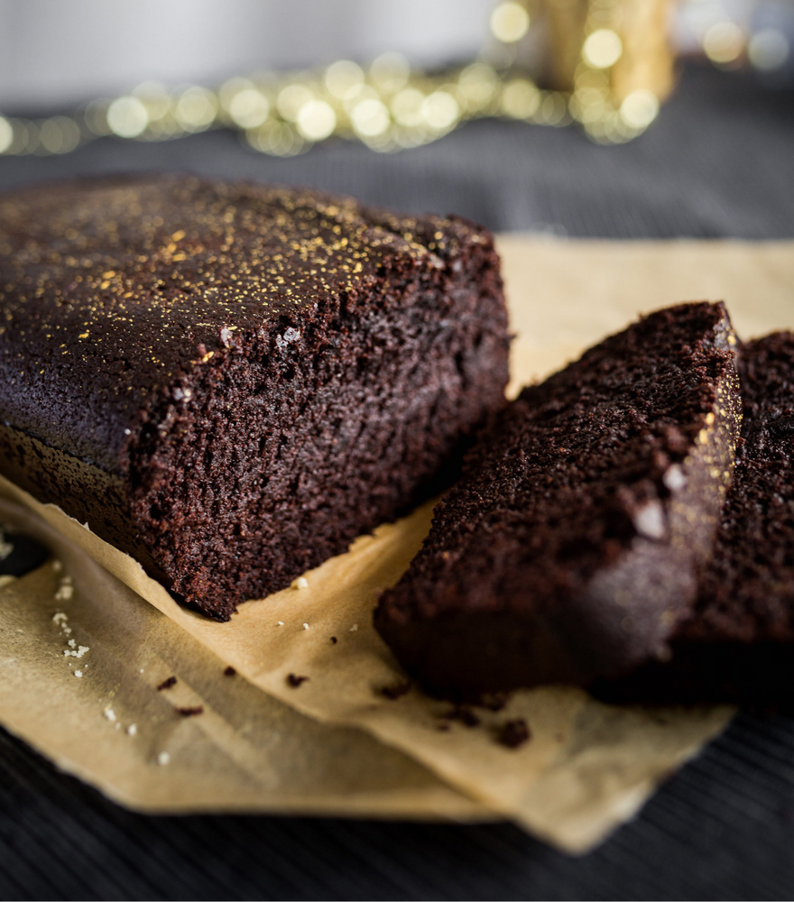 Rich and moist golly signature dark chocolate cake loaf 2 sliced cut