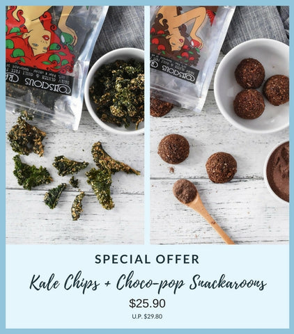Kale Chips + Choco-Pop Snackaroons