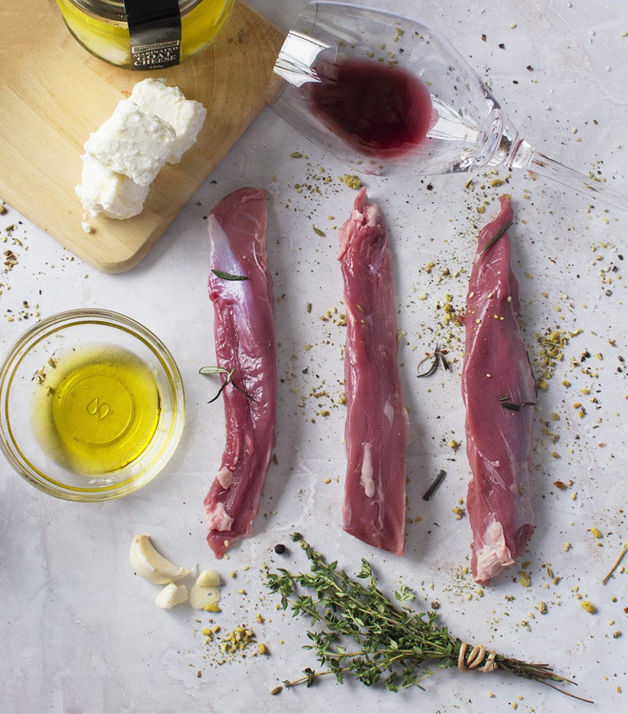 3 perfectly cut New Zealand Origin South Lamb Tenderloin with olive oil by side