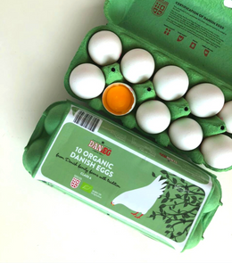Green tray of organic free range eggs