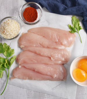 Load image into Gallery viewer, Perfect cut Free Range Chicken Mini Fillets with eggs and spices by side